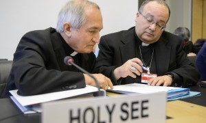 Archbishop Silvano Tomasi preparing for a hearing at the UN committee on the rights of the child